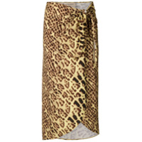 Adriana Degreas Saia Animal Print Com Fenda - Amarelo