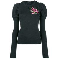 Dolce & Gabbana Blusa Com Bordado Floral - Cinza