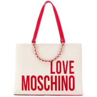 Love Moschino Logo Print Shopper Tote - Neutro