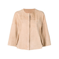 Drome Cropped Sleeves Leather Jacket - Neutro