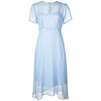 Hvn Vestido Midi Com Estampa Xadrez - Azul