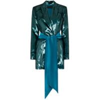 Michael Lo Sordo High-Shine Belted Blazer Dress - Azul