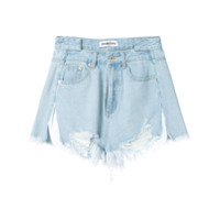 Ground Zero Frayed Denim Shorts - Azul