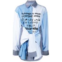 House Of Holland Camisa Com Listras E Amarração De Cintura - Azul
