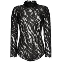 Alexia Hentsch High Neck Metallic Tiger Stripe Mesh Bodysuit - Preto