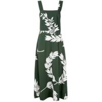 Osklen Vestido Longo Folhagens Estampadas - Verde
