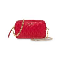 Miu Miu Matelassé Leather Belt Bag - Vermelho
