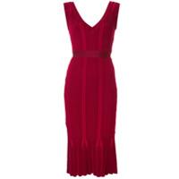 Hervé Léger Vestido Canelado Decote Em V - Vermelho