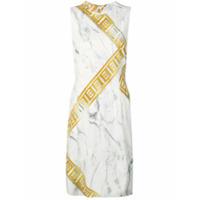 Versace Collection Vestido Com Estampa De Mármore - Branco