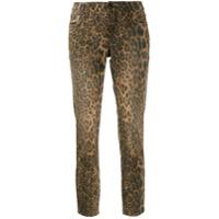 Cambio Calça Jeans Cropped Com Estampa De Oncinha - Marrom