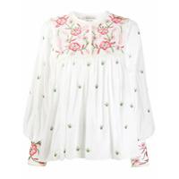 Antik Batik Blusa Com Recortes De Bordado Floral - Branco