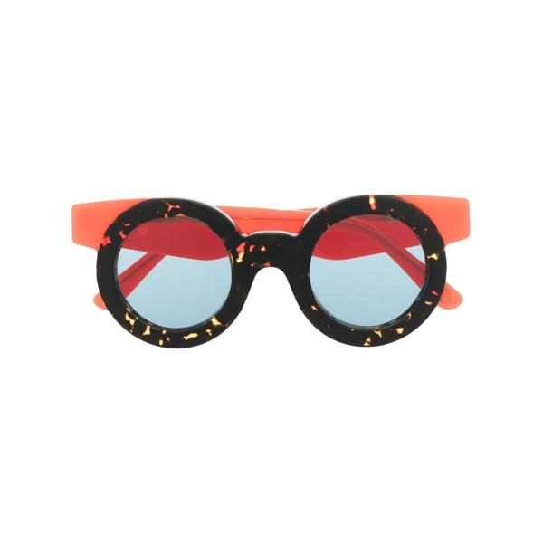 KYme Armação de óculos redonda com efeito de tartaruga - Marrom