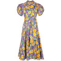 Lhd Vestido Com Estampa Floral E Acabamento Engomado - Azul