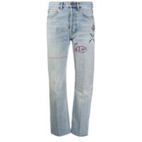 Cool T.m Calça Jeans Cropped Com Estampa - Azul