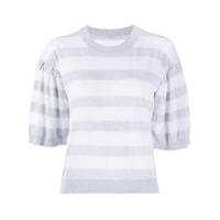 Malo Blusa De Tricô Com Listras - Branco