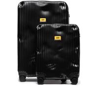 Crash Baggage Mala De Rodinhas Preta Com Listras - Preto
