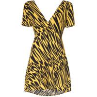 Double Rainbouu Vestido Animal Print Com Amarração - Amarelo