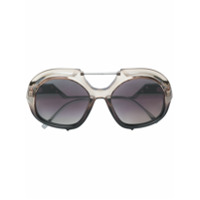 Fendi Eyewear Óculos De Sol Oversized Degradê - Preto