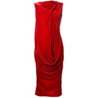 Rick Owens Vestido Midi Drapeado - Vermelho