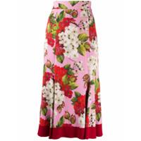 Dolce & Gabbana Saia Midi Evasê Com Estampa - Rosa