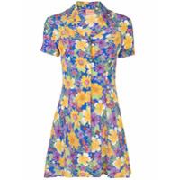 Lhd Vestido Clemenceau Com Estampa Floral - Azul