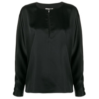 La Collection Blusa Mangas Longas De Seda Com Decote Gota - Preto