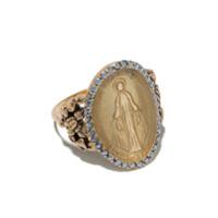 Feidt Paris Anel Madonna De Ouro 9K Com Safira - Dourado