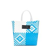 Marni Market Bolsa Tote Shopping Market Com Trama - Azul