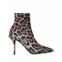Dolce & Gabbana Ankle Boot Meia Animal Print - Marrom
