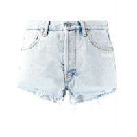 Off-White Short Jeans Com Efeito Manchado - Azul
