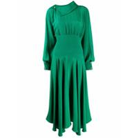 Christopher Kane Vestido Drapeado Com Aplicações De Cristais - Verde