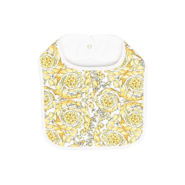 Versace Kids Babador de algodão com estampa barroca - Amarelo