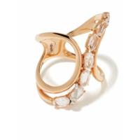 Brumani Anel Looping Shine De Ouro Rosé 18K Com Diamante E Citrino - Rose Gold