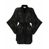 Fleur Du Mal Kimono De Seda Com Bordado De Contas - Preto