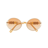 Chloé Óculos De Sol Redondo Ce167S Com Contas - Dourado