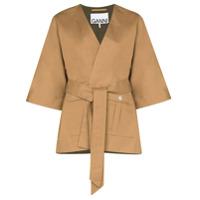 Ganni Kimono Com Amarração Na Cintura - Marrom