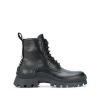 Dsquared2 Ankle Boot De Couro Com Cadarço - Preto