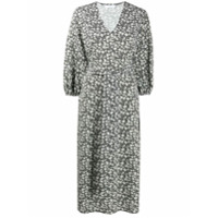 Roseanna Vestido Gola V Com Estampa Floral E Amarração Na Cintura - Preto