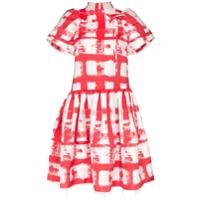 Shushu/tong Vestido Xadrez Com Acabamento Desfiado - Vermelho