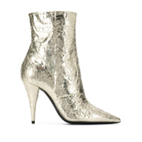 Saint Laurent Ankle Boot Metalizada - Dourado