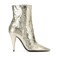 Saint Laurent Ankle Boot Metalizada - Dourado