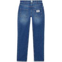 Burberry Calça Jeans Reta Com Detalhe De Logo - Azul