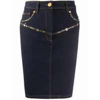 Versace Saia Lápis Jeans Com Tachas - Azul