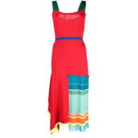 I-Am-Chen Vestido Plissado Com Detalhe Contrastante - Vermelho