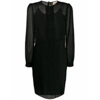 Semicouture Vestido Translúcido Com Pregas - Preto