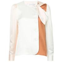 Rejina Pyo Camisa Color Block Sem Colarinho - Branco