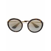 Prada Eyewear Óculos De Sol Redondo - Marrom