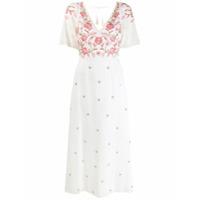 Antik Batik Vestido Com Recortes De Bordado Floral - Branco