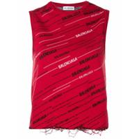 Balenciaga Regata Com Logo - Vermelho