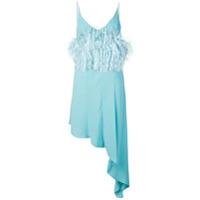 16Arlington Vestido Com Aplicações De Penas - Azul